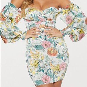 Floral Bardot Balloon Sleeve Bodycon Dress